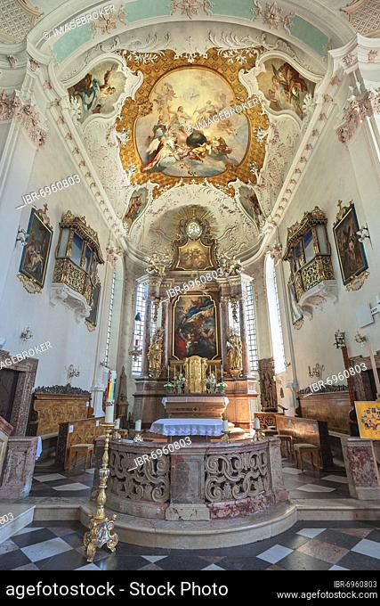 Main altar with ceiling frescoes, Parish Church of the Assumption of the Virgin Mary, Prien am Chiemsee, Upper Bavaria, Bavaria, Germany, Europe