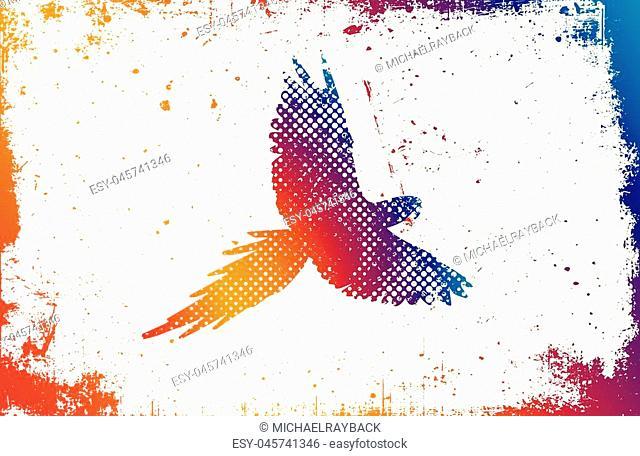 Color parrot. Parrot logo design. grunge poster
