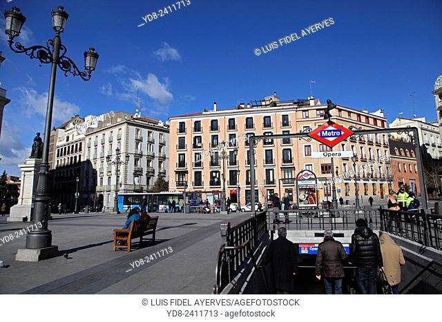 Entrance to underground next to the Royal Opera Theatre, Madrid, Spain