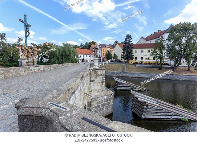 Stone Bridge, Pisek, South Bohemia, Czech Republic, Europe, The oldest Gothic stone bridge in the Czech Republic. Older than Charles Bridge