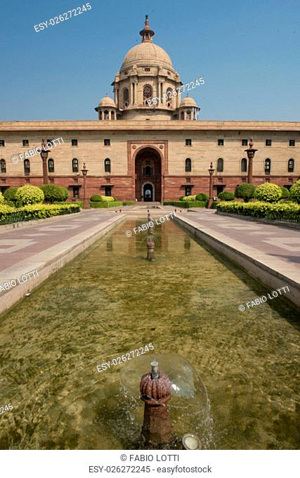 The North Block of the building of the Secretariat. Seat of the Government of India, on Raisina Hill in New Delhi
