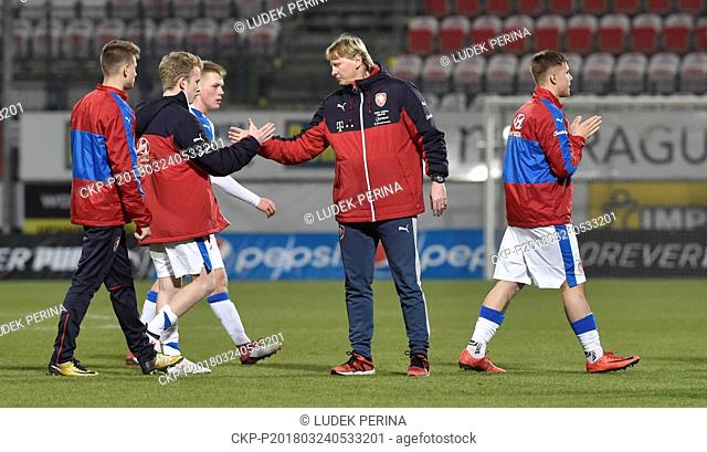 Czech coach Radek Bejbl in action after the qualifier for the European championship of football teams under 17 years today in Olomouc, Czech Republic, March 24