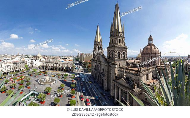 Guadalajara's Main Square, the Plaza de Armas and cathedral