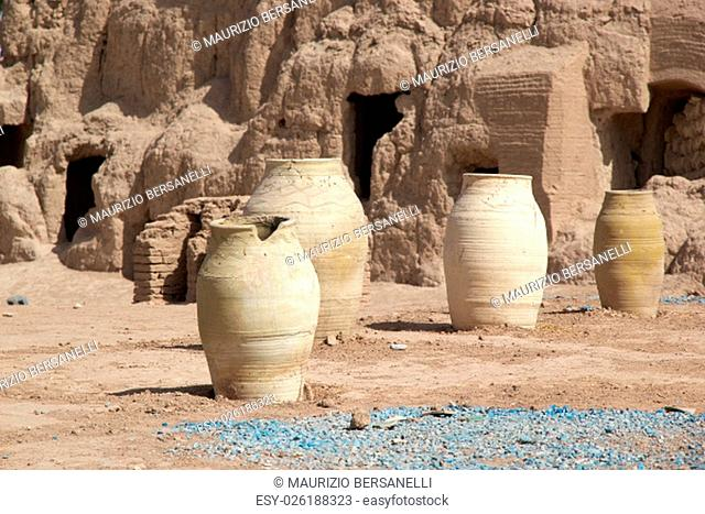 The old pottery outside the ruins of the Narin Qal'eh or Narin Castle. It is a mud brick fort or castle in the town of Meybod, Iran