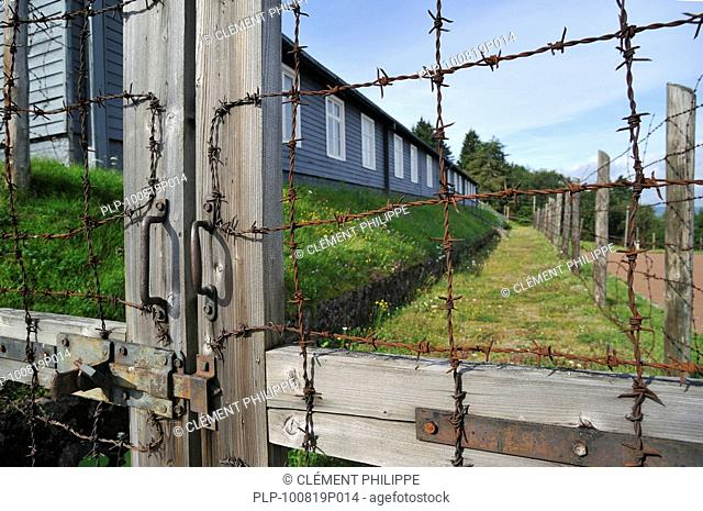 Gate and barracks at Natzweiler-Struthof, the only concentration camp established by the Nazis on French territory, Alsace, France