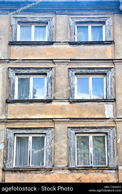 House facade, facade, window, architecture, Bamberg, Franconia, Bavaria, Germany, Europe