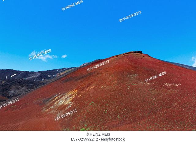 the volcano etna in sicily mountains and secondary craters