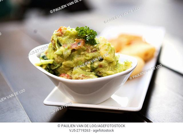 Sevilla, Spain, entree with guacomole and shrimps