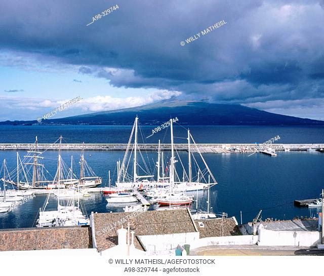 Marina. Horta. Faial Island. Azores. Portugal (Pico Island and vulcano in background)