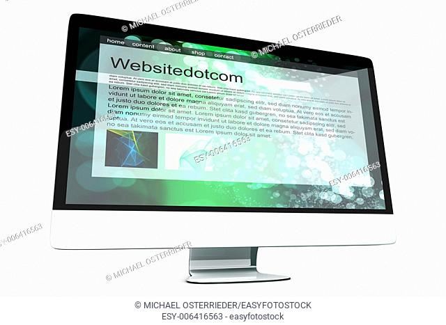All in one Computer showing a generic website. 3d illustration. Isolated on white