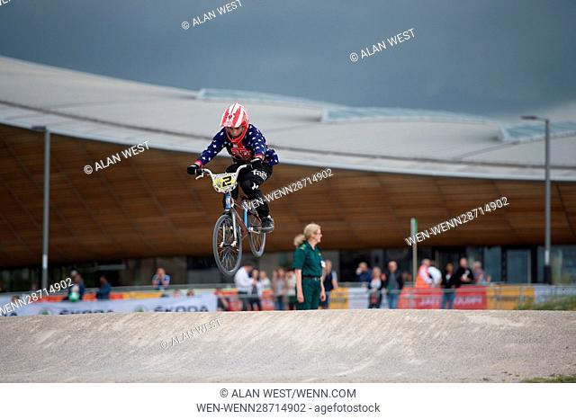 Competitors take part in the BMX Motos Qualifying on the opening day of the Prudential RideLondon event 2016 at the Lee Valley VeloPark Featuring: Atmosphere