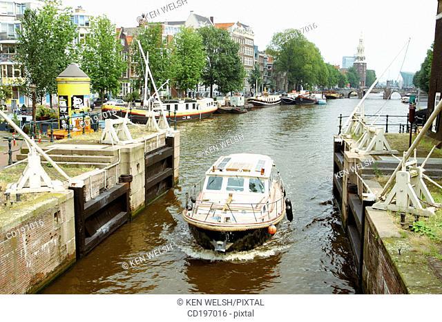 Lock on Oudeschans. Amsterdam. Holland