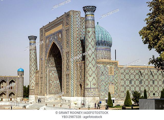 The Exterior Of Sher Dor Madrassa, The Registan, Samarkand, Uzbekistan