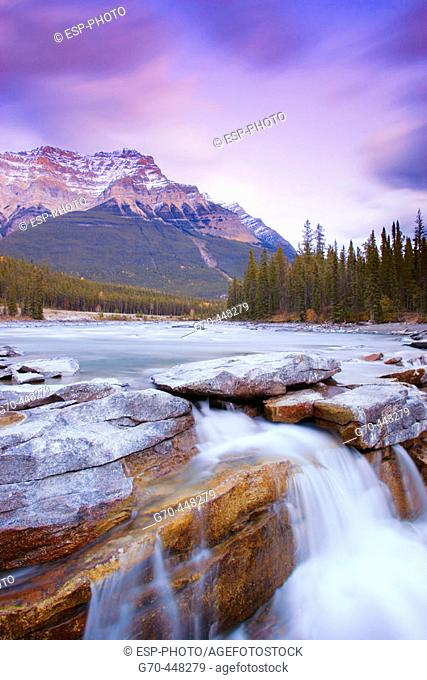 Athabasca Falls and Mount Kerkeslin. Jasper National Park. Alberta. Canada
