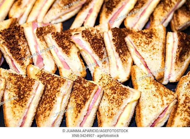 Tray of mini sandwiches for a cocktail