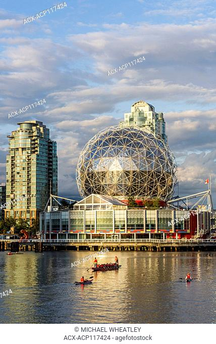 Telus World Of Science and dragon boat in False Creek, Vancouver, British Columbia, Canada