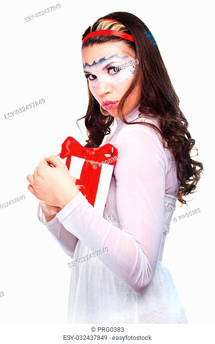 sexy woman with present wrapped in white paper, isolated on white