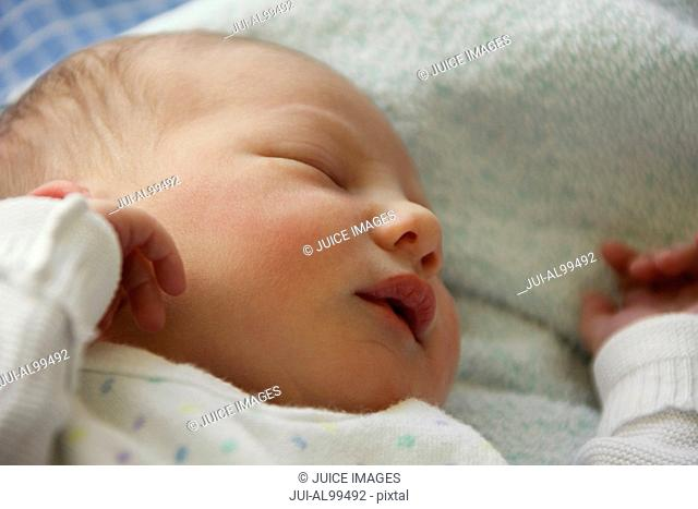 Close up of sleeping newborn baby