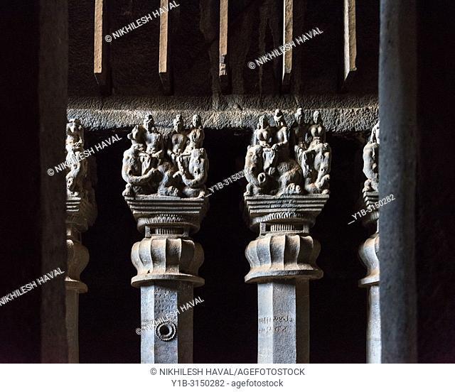 Pillars inside main Chaityagriha at Karla, Maharashtra, India