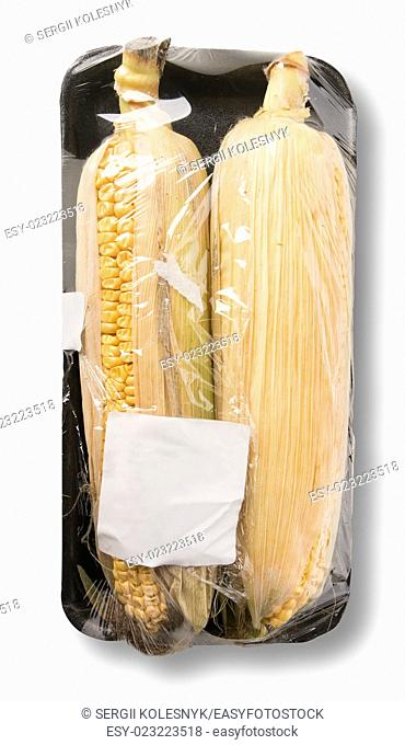 Corn in packing isolated on a white background
