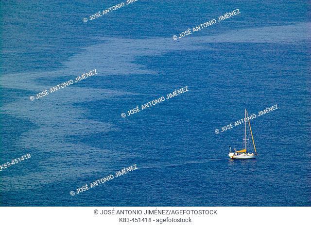 Sailboat in the Mediterranean Sea