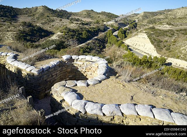 Reconstruction of a defensive position, named as George Orwell trench, used during the Spanish civil war in Alcubierre, Huesca province, Aragon in Spain