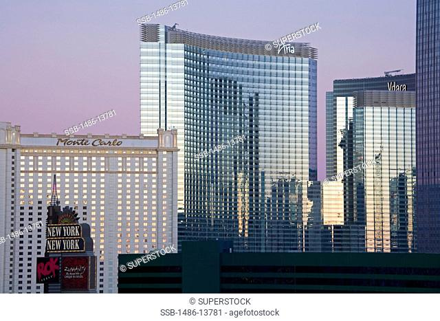 Buildings in a city at dawn, CityCenter, The Strip, Las Vegas, Nevada, USA