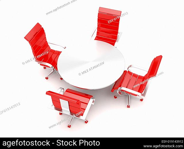 Armchairs and round table