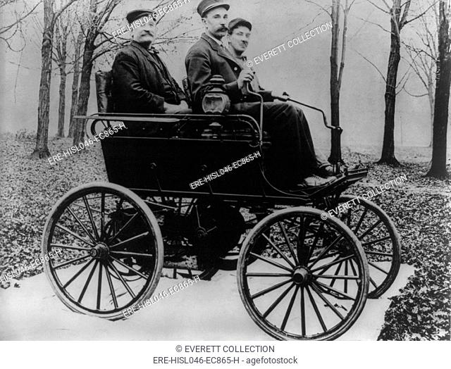 The first Oldsmobile used control sticks for steering in 1897. The Olds Motor Vehicle Co. was founded by Ransom E. Olds in 1897 and purchased by General Motors...