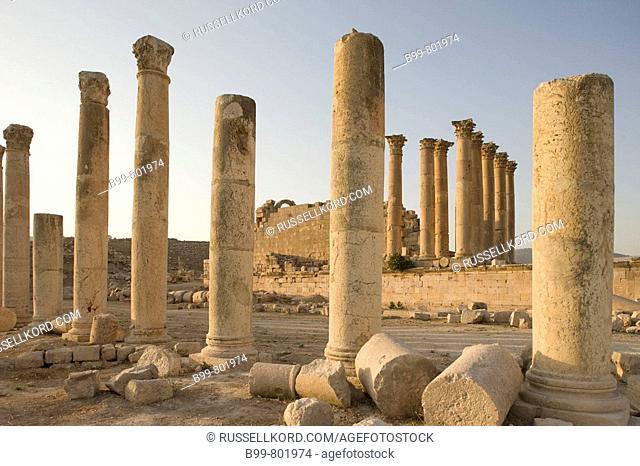 Columns Roman Temple Ruins Of Artemis. Jerash. Jordan