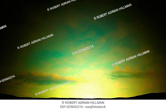 Editable vector illustration of a sunrise or sunset sky made using a gradient mesh