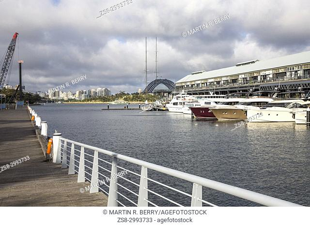 Jones Bay Wharf in Pyrmont Sydney city centre, contains luxury boats in a marina and commercial office space.It has historic significance to Sydney, Australia