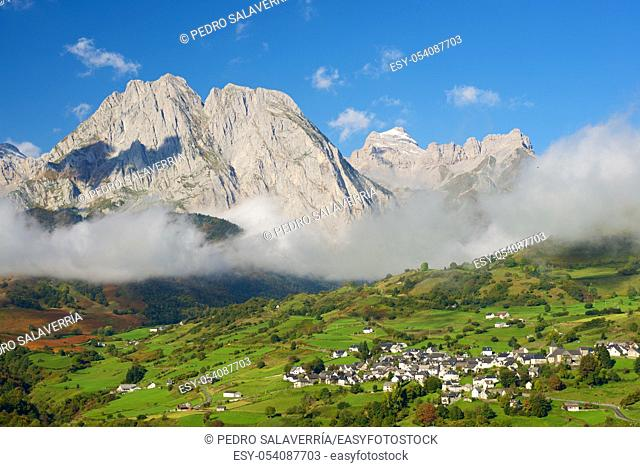 Mountains in Lescun Cirque, Aspe Valley, in the foreground you can see the Lescun village. Pyrenees, France