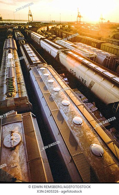 Trains at Locust Point Baltimore Maryland