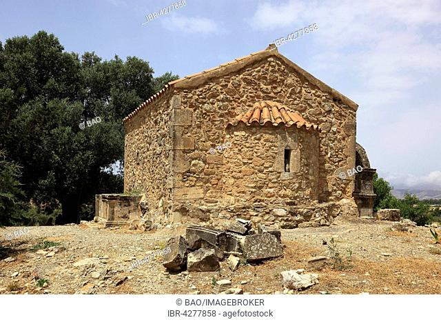Byzantine chapel of Agios Georgios Galatas, archaeological site Agia Triada, Crete, Greece