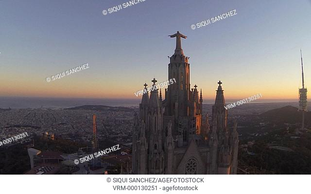 El Tibidabo and overview of Barcelona. spain