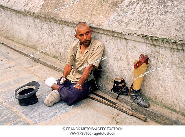 Leper begging. Pashupatinath, Nepal