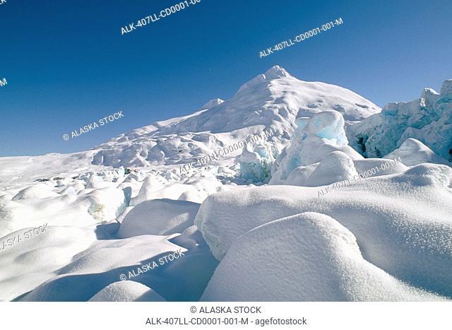 Portage Glacier Lake Southcentral Alaska Winter Scenic Snow Sky White Blue