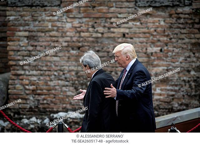 The President of the Italian Council Paolo Gentiloni with USA president Donald Trump during the opening ceremony of Taormina G7, Taormina, Italy 26/05/2017