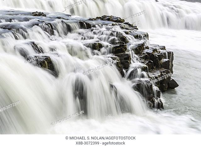 """Gullfoss, """"""""Golden Falls"""""""", a waterfall located in the canyon of the Hvítá River in southwest Iceland"""