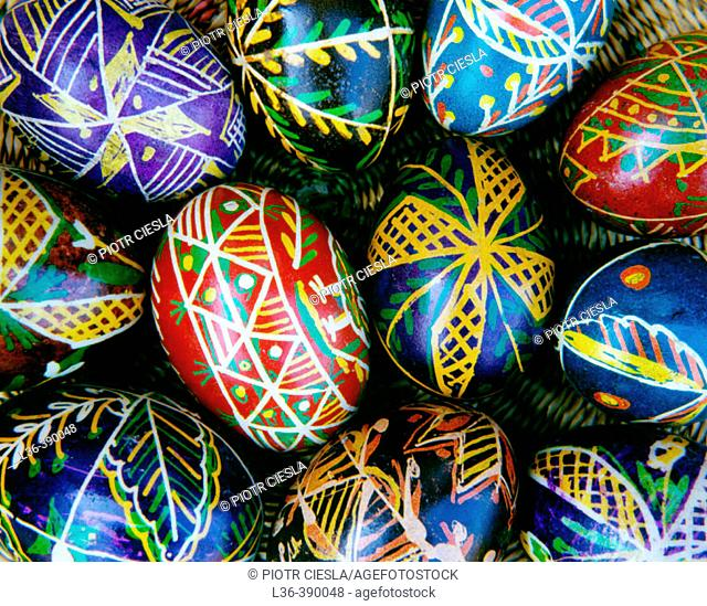 Traditional easter eggs painetd before easter in eastern regions of Poland