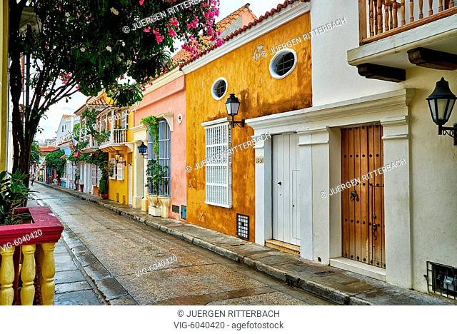 typical colorful facades with balconys of houses in Cartagena de Indias, Colombia, South America - Cartagena de Indias, Colombia, 29/08/2017