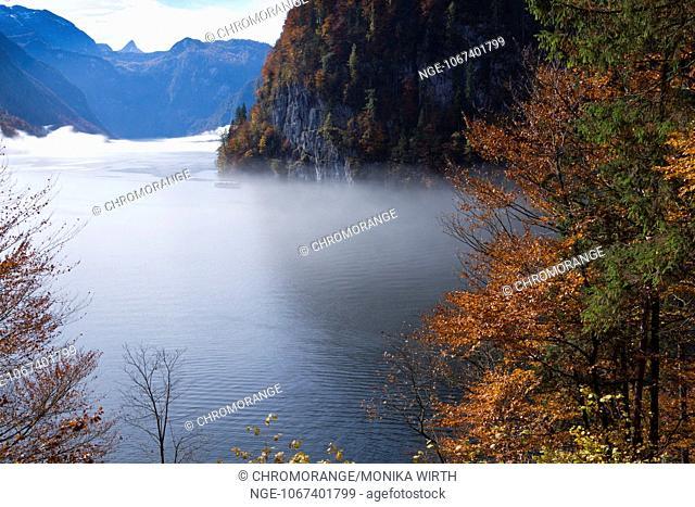 Lake Koenigssee in the morning mist, Schoenau am Koenigssee, Berchtesgaden Nation Park, Berchtesgadener Land, Upper Bavaria, Bavaria, Germany, Europe