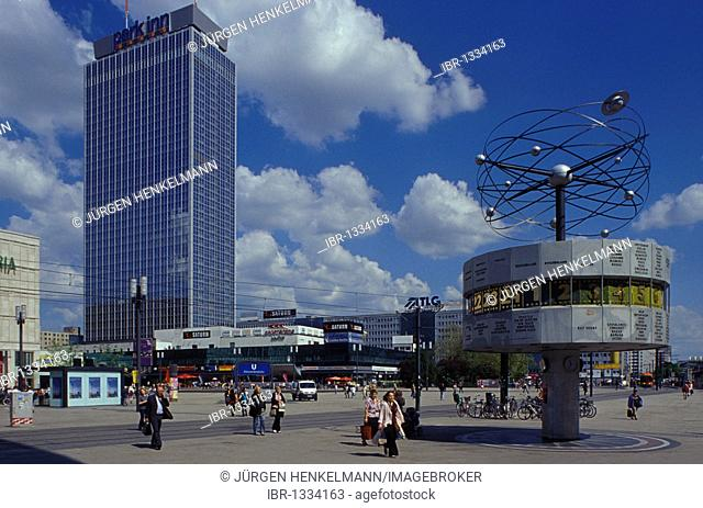 Alexanderplatz square, world clock, Park Inn Hotel, Berlin Mitte district, Germany, Europe