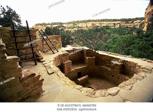 Kiva, subterranean circular room, Cliff Palace, cliff dwelling, Mesa Verde National Park (UNESCO World Heritage Site, 1978), Colorado, United States of America