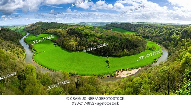 View over the Wye Valley in spring time from Yat Rock, Symonds Yat, Herefordshire, England