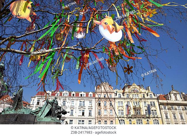 Prague, Czech Republic, historical center listed as World Heritage by UNESCO, the old town Stare Mesto, Easter decorations in Old Town Square Staromestske...