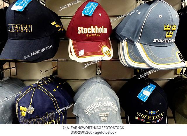 STOCKHOLM, SWEDEN Souvenirs, caps and tshirts in tourist shop