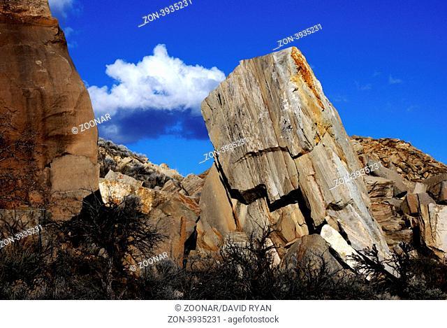 USA, Idaho, Boise, Table Rock Butte, Fallen Boulders at the Quarry
