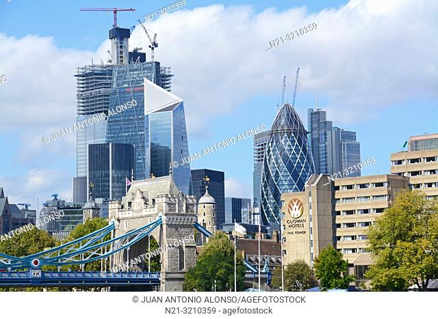 The City Financial District and a partial view of the London Tower Bridge. London, England, Great Britain, Europe